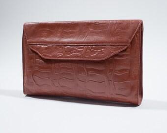 MISSONI - Brown leather pochette clutch handbag