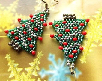 Christmas Green Tree Earrings Beaded Christmas Earrings Green Earrings Christmas Tree Jewelry Christmas Gift For Her Ready to ship