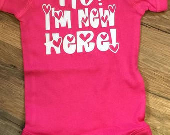 Custom New Baby Announcement shirt, Funny Shirts, Hi I'm New Here, gifts for newborn, baby girl, baby shower, hospital gift ideas, hearts