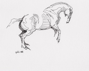 Original Sketch of a Horse, Animal, Contemporary Original Study, Quick Sketch, Equine Art