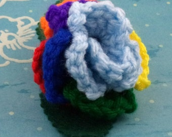 Crocheted Rose Ponytail Holder or Bracelet - Light Blue and Rainbow (SWG-HP-MPRD01)