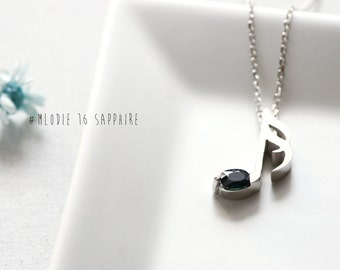 Music Note Sapphire Necklace 925 Sterling Silver Genuine Blue Sapphire September Birthstone