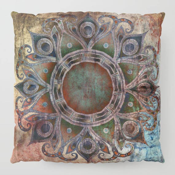 "Mandala - Zombie FLOOR Pillow, Square 26"" and 30"", Floor Cushion, Eye Candy, Dorm Pillow, Teen Decor, Office, Home Statement Piece,Spiritual"