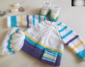 Three piece baby set, Baby kit, soft cardigan, baby booties, cute baby hat, hand knitted baby clothes,  Gift for new baby