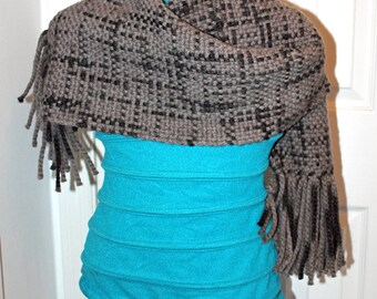 Black Gray Scarf - Handwoven Warm Scarf