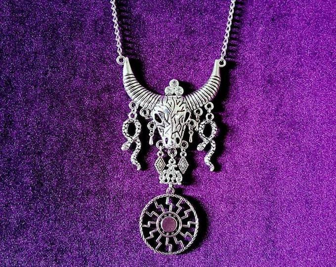 Black Sun Bull Skull Necklace - occult pagan symbol kolovrat sign black magick necklace