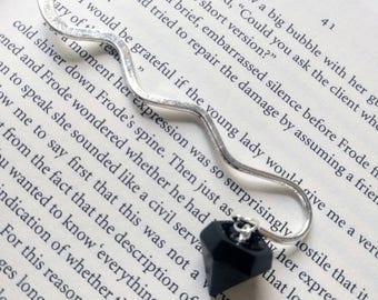 Jet black resin charm on silver bookmark