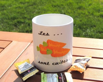 Mug carrots are cooked, coffee cup, coffee, tea, vegetable and quote