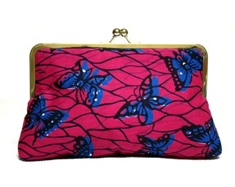 Pink clutch purse, Pink Handbag, Butterfly Print bag, Strawberry Ankara Clutch, Ankara Print Purse, Pink purse, handmade purse, pink bag