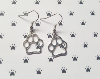 Pawprint earrings, Pawprint pendant, Dangle earrings, Pawprint, Animal, Animal jewellery, Animal lovers, Nature, Gifts for dog lovers, Paw