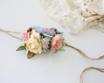 Mabry -- toddler child adult adjustable blush ivory blue winter  halo flower crown floral headband