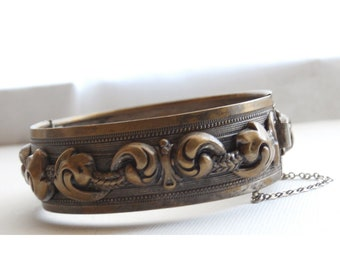 Ornate Vintage Brass Bracelet, Hinged Cuff Floral Repouse Victorian Revival Style