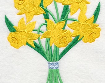 Pretty Daffodil Bouquet Embroidered Flour Sack Towel, Daffodil Bouquet Towel, Spring Bouquet Towel