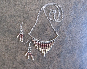 Ombre pearl earring and necklace set