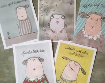 Postcardset Kittiekat. Greeting cards of the other kind
