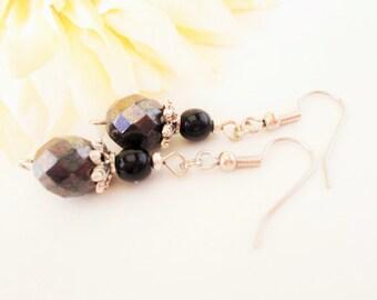 Hematite Earrings, Black Earrings Sterling Silver Jewelry, Handmade Earrings Rustic Gifts, Everyday Earrings Dangle Clip On, Best Selling