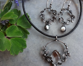 Handmade Crystal Pearl Art Necklace on Leather Cord