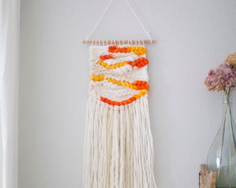 Sunrise wall hanging \\ Weave \\ MTO \\ hand woven wall hanging \\ tapestry \\ wall decor \\ yellow nursery decor \\ handwoven fiber art