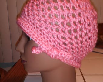 Pink Crochet Hat with Bow