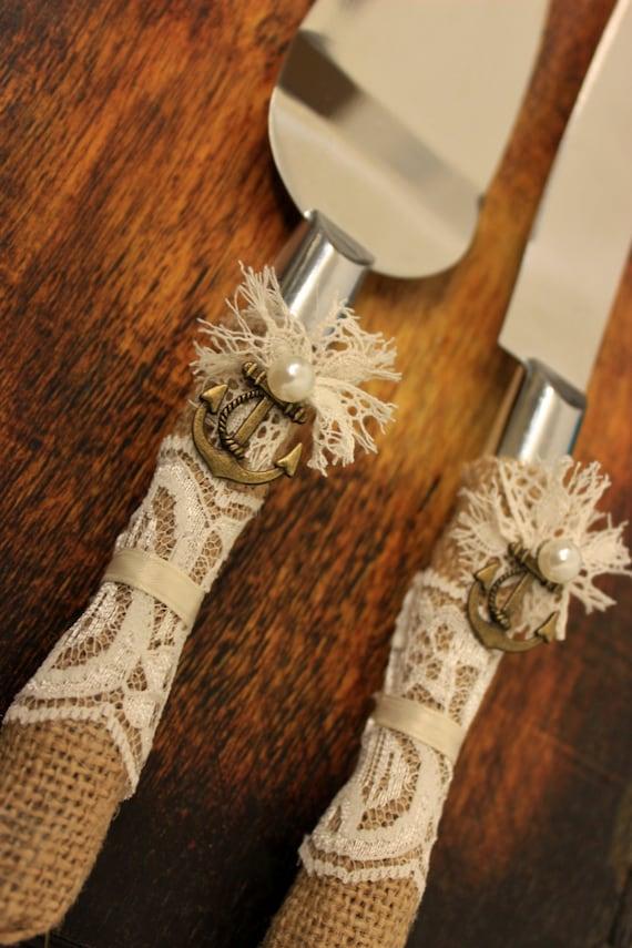Nautical Anchor Wedding Cake Server And Knife Burlap Amp Lace