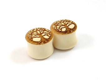 """Tree of Life Wooden Plugs on Holly  PAIR  2g (6.5mm) 0g (8mm) 00g (9mm) 7/16"""" (11mm) 1/2"""" (13mm) 9/16"""" 14mm 5/8"""" 16mm and up Wood Ear Gauges"""