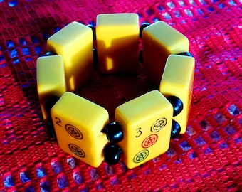 Bakelite vintage Bracelet (butterscotch mahjohng) c1930 made of seven (7) pieces of games bakelite tested (simichrome)
