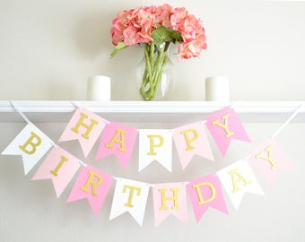 Pink & Gold 1st Birthday Party Decoration - Pink and Gold Birthday Banner - Girl First Birthday Banner - Gold Birthday Party Supplies