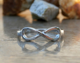 Infinity Ring, Sterling Silver Ring, Friendship Knot Ring, Sterling IN STOCK