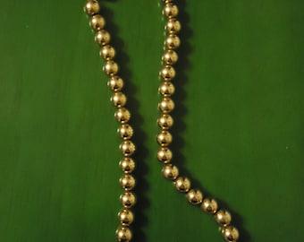 Vintage 1970s Boho Gold Tone Beaded Necklace