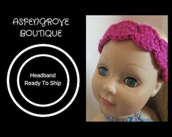 14 inch 18 inch doll handmade crochet fuschia hot pink head band birthday gift Ready to ship