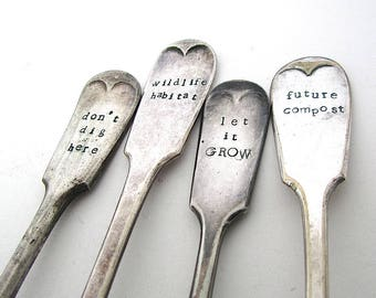MADE TO ORDER Plant Labels, Upcycled Cutlery, Funny Gardening Gift, Humorous Plant Markers, Rustic Garden Labels, Reclaimed Forks