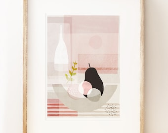 Contemporary still life art print 'Black Pear'. Living room art. Modern art print. Gifts for her. Art under 50.