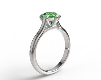 14k white gold engagement ring with 7mm round emerald, wedding ring, wedding band, solitaire ring, exclusive ring, designer ring, AKR-474-2