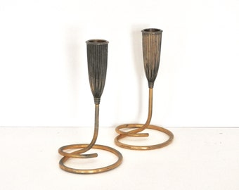 Mid Century Napier Gold Plated Candle Holders- Hollywood Regency Style Home Decor