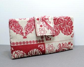Women's Billfold Wallet, Fabric Billfold Wallet, Fabric Long Wallet, Print Hearts Fabric Long Wallet, Women's Long Wallet, Gift For Her