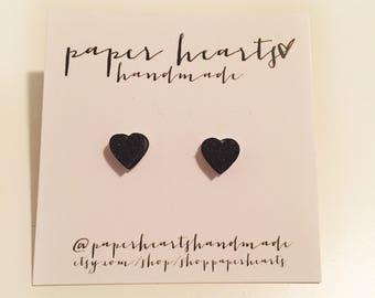 black heart stone studs