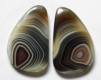 67.30 Cts Natural Botswana Agate (35mm X 21.5mm each) Loose Cabochon Match Pair