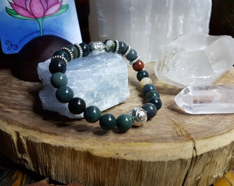 Indian Agate 8mm Crystal Bead Buddha Head Bracelet