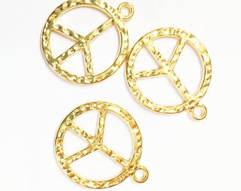 10 pcs of Gold plated hammered peace pendant 23mm, Gold peace pendant, bulk peace pendant