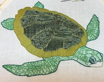 Turtle sampler embroidery kit