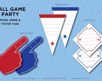 Take Me Out to the Ball Game, Baseball Printable Party, Ball Park Baseball Theme Party, Blank Favor Food & Drink Tags