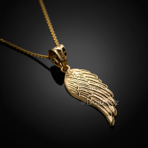 14k gold angel wing pendant necklace yellow white rose aloadofball Choice Image