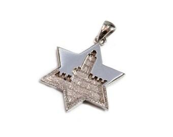 Jerusalem 14k White Gold Star of David Pendant