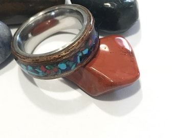 Multistone ring with bentwood and stainless steel core