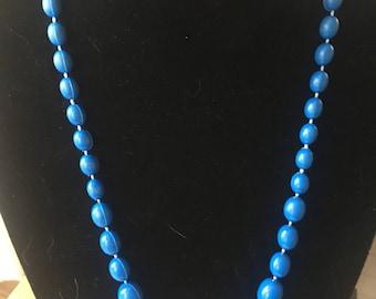 Blue Plastic Bead Necklace [SKU63]