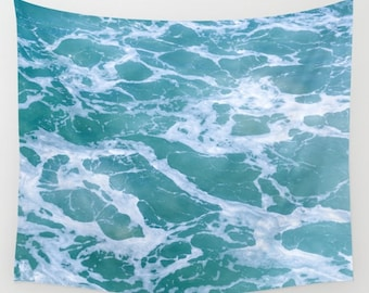 Tropical Ocean waves Wall Tapestry surf sea water tapestry sea wall hanging grommets coastal style blue turquoise beach house coastal decor
