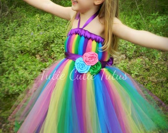 Skittles, candy land, Rainbow Tutu Dress Green, Pink, Blue, Yellow, and Purple.