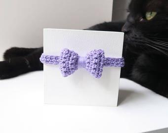 Cat collar, ultra violet cat collar with bow, bow cat collar, breakaway cat safety collar, soft kitten collar, quick release cat collar