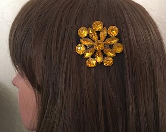 Vintage Hair Comb: Amber Orange Silver Wedding Bridesmaid Costume Comb
