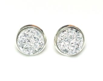 Druzy earrings -  silver 6, 8 or 12 mm faux druzy - silver stud earrings - silver studs - stud earrings - clip on earrings option
